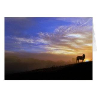 Tarjeta de condolencia del caballo y de la puesta
