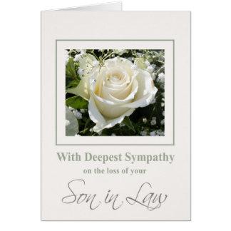 tarjeta   de condolencia del yerno con los rosas