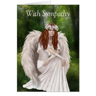 Tarjeta de condolencia moderna con ángel hermoso
