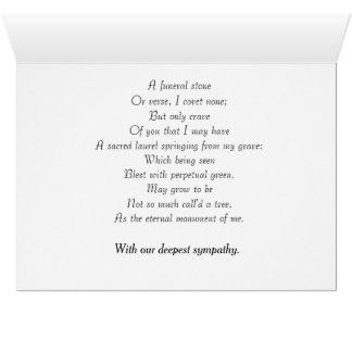 Tarjeta de condolencia que ofrece el poema de