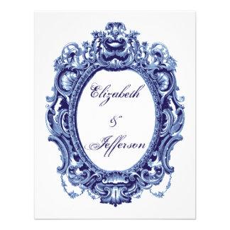 Tarjeta de contestación azul del boda del marco de invitación personalizada