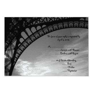 Tarjeta de contestación de la torre Eiffel con Invitación 8,9 X 12,7 Cm
