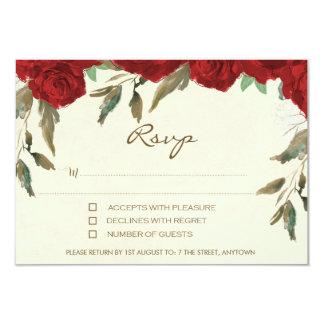 Tarjeta de contestación de marfil floral del rsvp