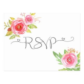 Tarjeta de contestación floral rosada de RSVP de
