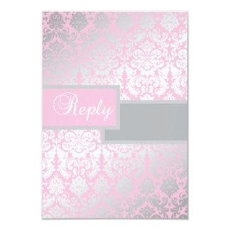 Tarjeta de contestación rosada y gris del damasco invitación 8,9 x 12,7 cm