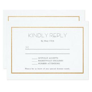 Tarjeta de contestación simple del rsvp del boda