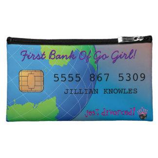 Tarjeta de crédito de encargo divertida estuche de maquillaje de ante