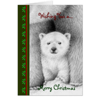 Tarjeta de Cub Chrismas del oso polar