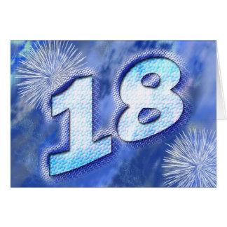tarjeta de cumpleaños 18 con los fuegos artificial