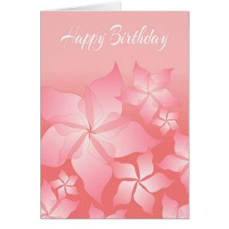 Tarjeta de cumpleaños abstracta floral rosada
