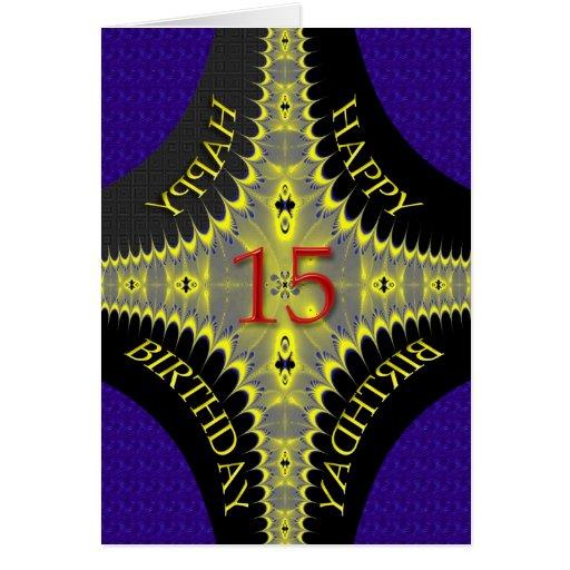 Tarjeta de cumpleaños abstracta para los 15 años