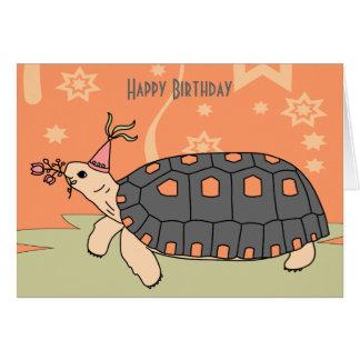 Tarjeta de cumpleaños adaptable de la tortuga de