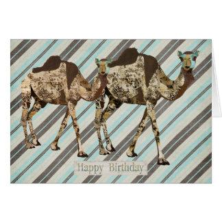Tarjeta de cumpleaños adornada de las rayas de los