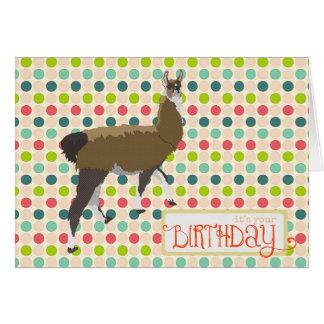 Tarjeta de cumpleaños afortunada de la llama