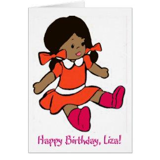 Tarjeta de cumpleaños afroamericana de la muñeca