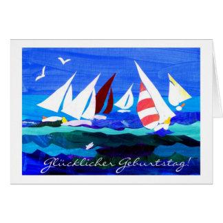 Tarjeta de cumpleaños alemana del saludo - navegac