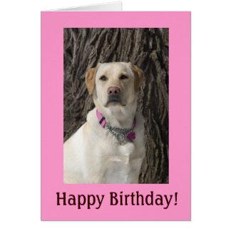 Tarjeta de cumpleaños amarilla rosada del