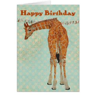 Tarjeta de cumpleaños ambarina adornada de la jira