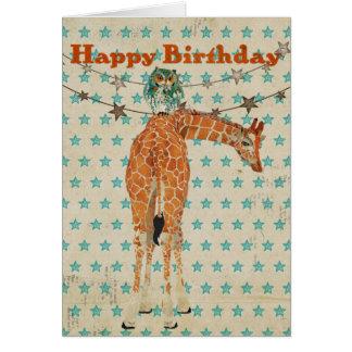 Tarjeta de cumpleaños ambarina del búho de la jira