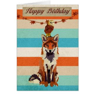 Tarjeta de cumpleaños ambarina del Fox y del búho