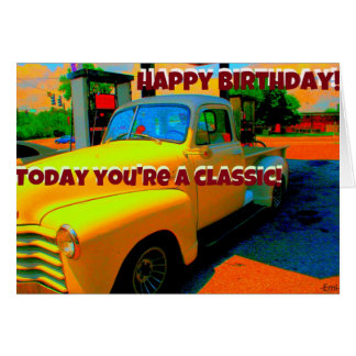 Tarjeta de cumpleaños auto clásica del feliz