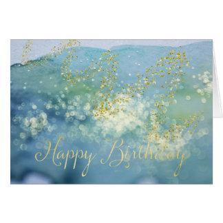Tarjeta de cumpleaños azul brillada de la acuarela