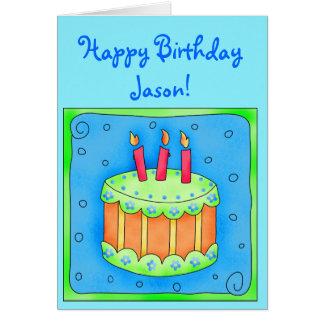 Tarjeta de cumpleaños azul con la torta