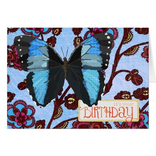 Tarjeta de cumpleaños azul de la mariposa