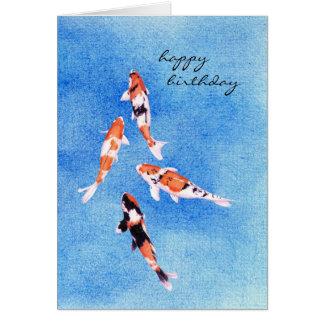 Tarjeta de cumpleaños azul flotante de Koi
