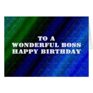 Tarjeta de cumpleaños azul y verde para Boss