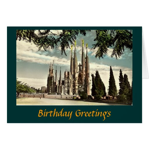 Tarjeta de cumpleaños, Barcelona, Sagrada Familia