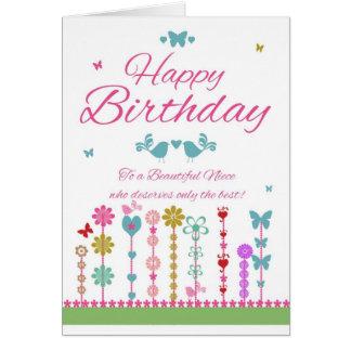 Tarjeta de cumpleaños bonita de la sobrina con las