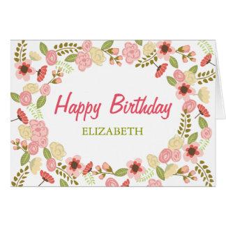 Tarjeta de cumpleaños botánica personalizada