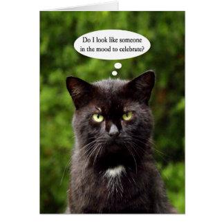 Tarjeta de cumpleaños cambiante divertida del gato