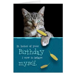 Tarjeta de cumpleaños chistosa con el gato