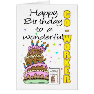 Tarjeta de cumpleaños Co-Workder - torta de cumple