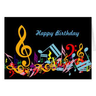 Tarjeta de cumpleaños colorida de las notas musica