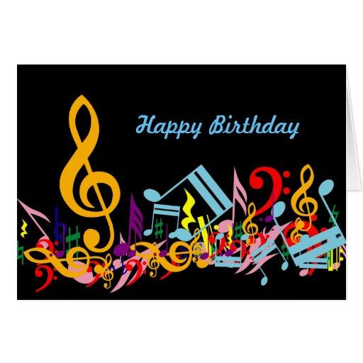 Tarjeta de cumpleaños colorida de las notas musica de Zazzle.
