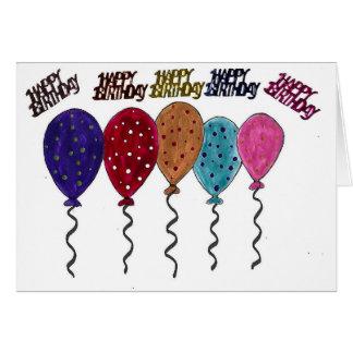 Tarjeta de cumpleaños colorida de los globos