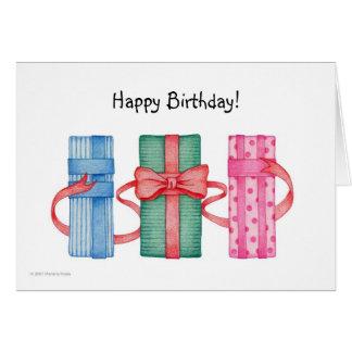 Tarjeta de cumpleaños colorida de los regalos