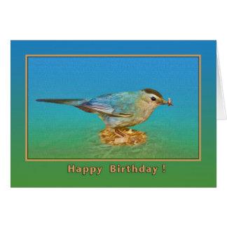 Tarjeta de cumpleaños con el Catbird y el gusano