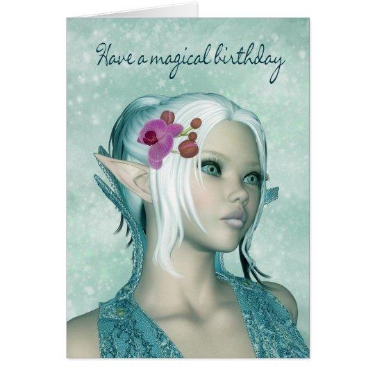Tarjeta de cumpleaños con el duende femenino de la