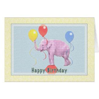 Tarjeta de cumpleaños con el elefante rosado y los