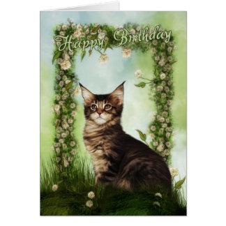 Tarjeta de cumpleaños con el gato lindo