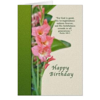 Tarjeta de cumpleaños con el gladiolo rosado