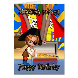 ¡Tarjeta de cumpleaños con el pequeño pirata, Arrr Tarjeta De Felicitación