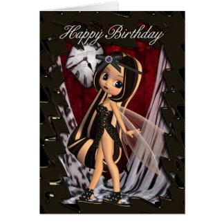 Tarjeta de cumpleaños con la hada gótica de los mo
