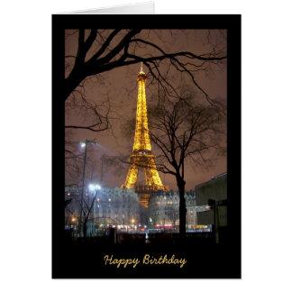 Tarjeta de cumpleaños con la torre Eiffel París
