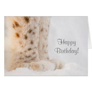 Tarjeta de cumpleaños con las patas de oro suaves