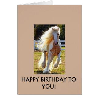 ¡Tarjeta de cumpleaños con un caballo hermoso! Tarjeta De Felicitación